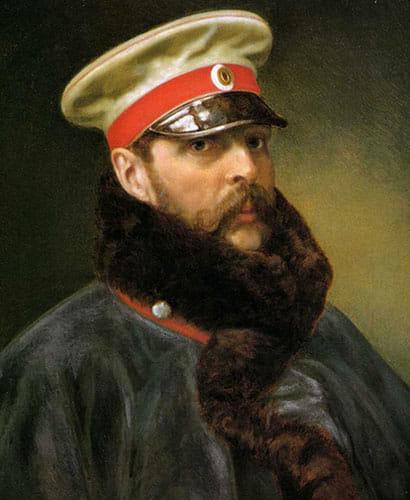 Alexandre II en 1888 arborant le képi, à l'origine de la casquette.