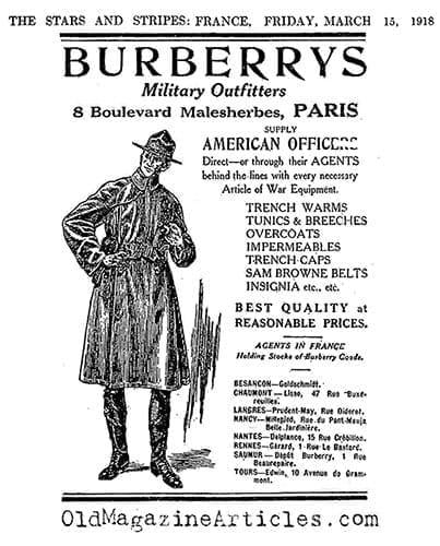 Le trench Burberry en 1918.